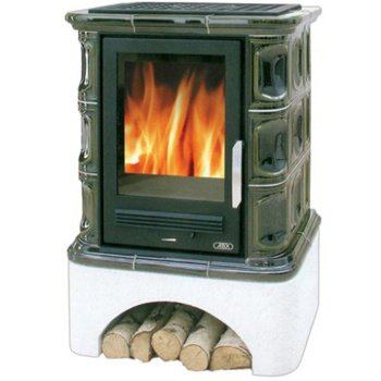 Кафельная печь-камин ABX Regina (белый цоколь, вставка комбо)